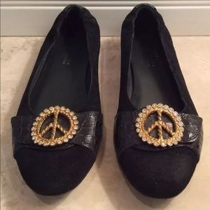 DONALD J PLINER Leather Peace Sign Flats Italy!!!